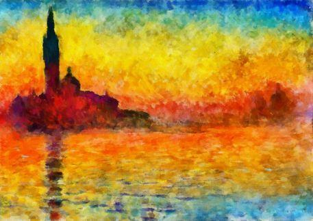 Claude Monet Sunset In Venice Prints