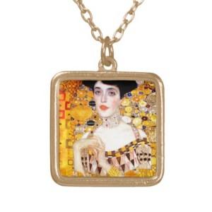 Gustav Klimt Adele Bloch-Bauer Square Pendant Necklace