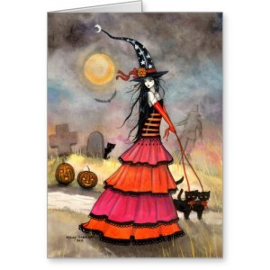 Wondrous Flight Halloween Witch Card