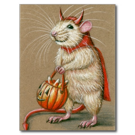 Rat Devil Drawing Halloween Postcard