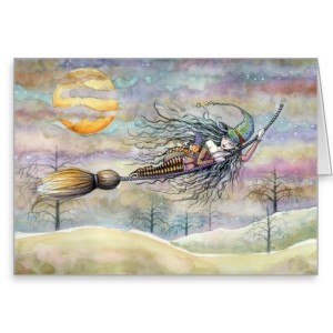 Wondrous Flight Halloween Witch Greeting Card